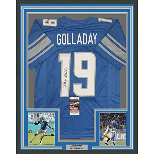 Framed Autographed/Signed Kenny Golladay Detroit Blue Football Jersey JSA COA ()