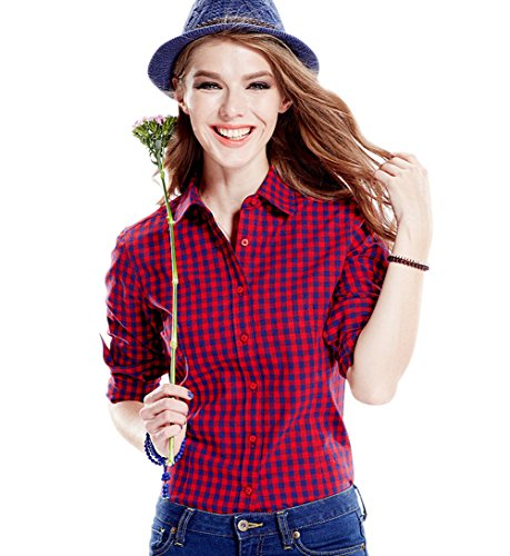 Tortor 1Bacha Women's Gingham Long Sleeve Button Down Plaid Shirt Blue Red 8-10 ()