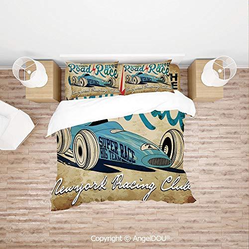 (PUTIEN Modern Cotton Bedding 4 Pieces Set Duvet Cover Set,New York Racing Club Race Car from Twenties Road Race Team Old School Cool Design Decorative,Soft Microfiber Duvet Cover Set.)