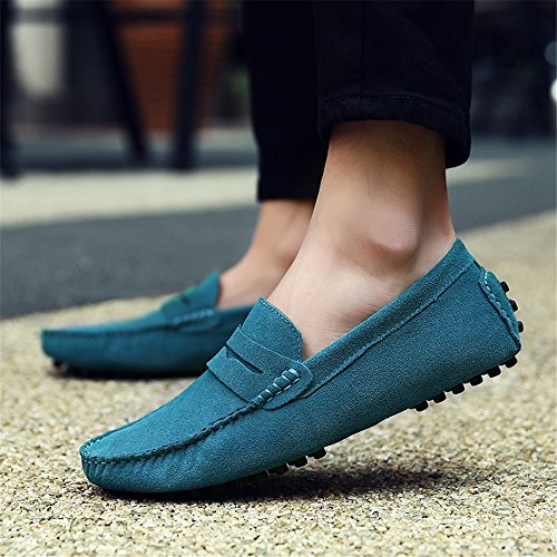 SHELAIDON Men's Suede Leather Loafers Moccasins Slip On Flats Boat Shoes Skyblue n4NDW24bSl