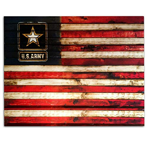 - US Army Logo on USA Flag- Rustic Poster Print- 10 x 8