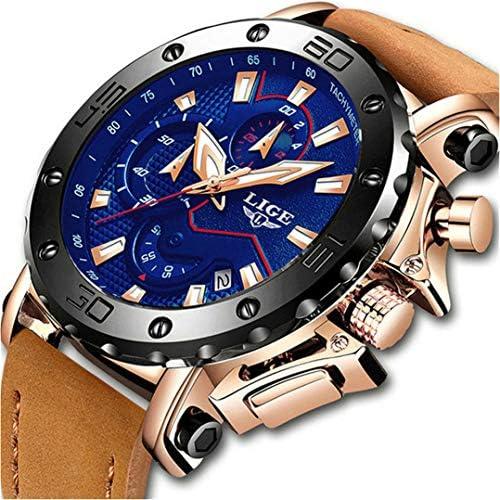 LIGE Watches Men Fashion Quartz Chronograph Waterproof Watches Business Leather Strap Wrist Watch for Men