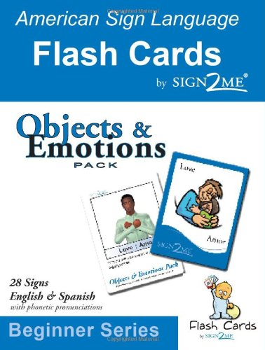 Sign2Me Early Learning- ASL Flashcards: Beginners Series - Objects & Emotions (Incl. ASL + English + Spanish) (Ameri