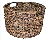 Wicker Large Round Basket Dark Brown - Large baskets Baskets for storage Laundry Baskets Decorative Hampers Shelf baskets - Threshold (1)