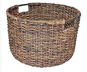 Wicker Large Round Basket Dark Brown   Large Baskets Baskets For Storage  Laundry Baskets Decorative Hampers