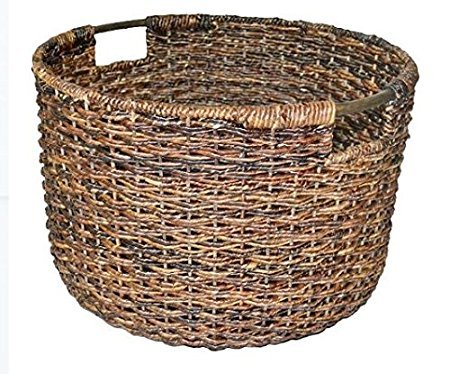 Wicker Large Round Basket Dark Brown - Large baskets Baskets for storage Laundry Baskets Decorative Hampers Shelf baskets - Threshold (1) (Wicker Large For Blankets Basket)
