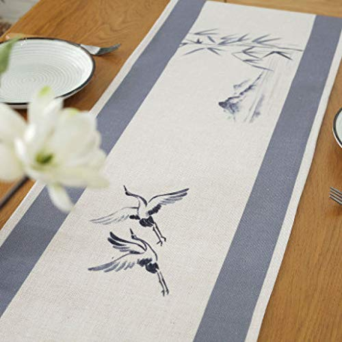 SYHK Cotton Linen Coffee Table Runner for Living Room Chinese Painting Printed Long Vintage Tablecloth -