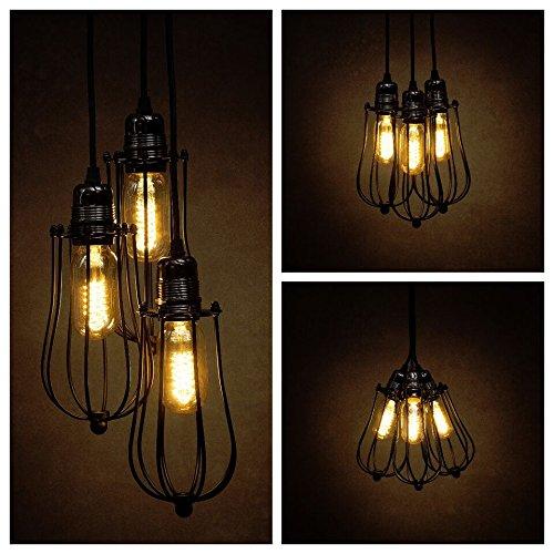 Vintage 3 way black caged light pendant light cluster