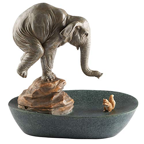 Fountain Art - ART & ARTIFACT Elephant and Squirrel Tabletop Water Fountain