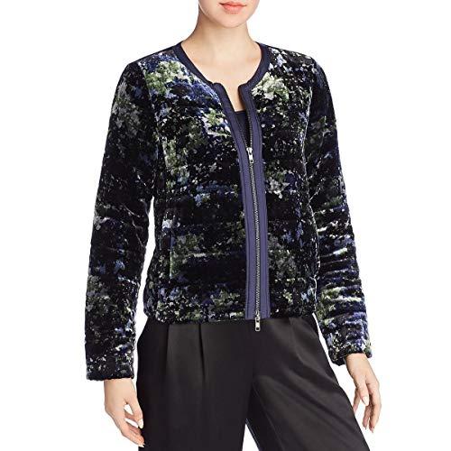Eileen Fisher Women's Velvet Printed Collarless Lightweight Puffer Coat