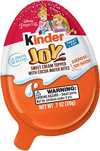 Kinder Joy Chocolate Candy Eggs with Surprise Toy Inside, Easter Basket Stuffers, Disney Princess Themed, 30 Count -