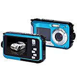 Coolbiz Double Screen Waterproof Camera 24MP 16x Digital Zoom Dive Camera with Image Stablization for Diving Photography(Blue)