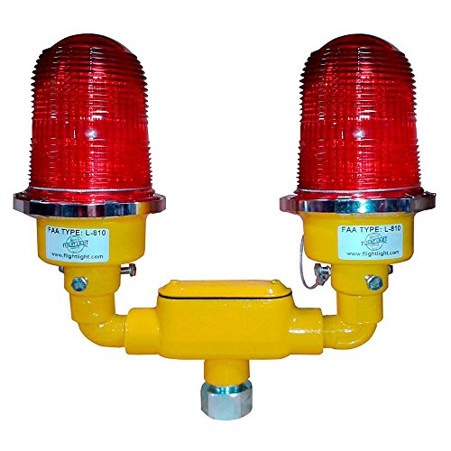 Double Incandescent Tower Obstruction Light, Aircraft Warning Light, L-810 Red Beacon - 120VAC with 3/4