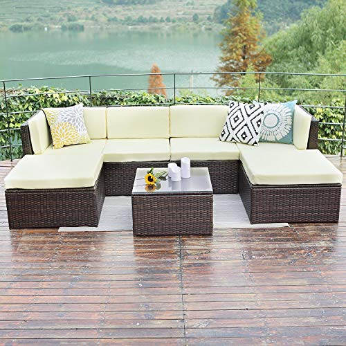 Wisteria Lane Outdoor patio furniture sets, 7 PC Wicker Sofa Set Garden Rattan Sofa Cushioned Seat with Coffee Table,Brown -