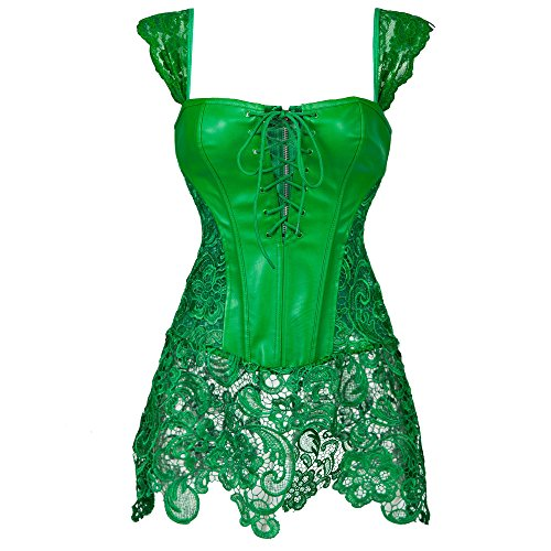 [Miss Moly Women Steampunk Faux Leather Bustier Sexy Dress Corset Top Zip Plus Size Green L] (Fat Lady Halloween Costumes)