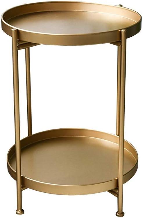 Beveel Korting Aan Hedendaagse Salontafel Metal Kleine Salontafel Eenvoudige Mini Rond Salontafel Bank Zijframe 4.13 (Color : White) Gold hXAmvrK