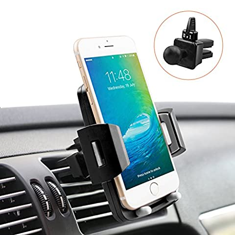 Universal Car Phone Holder, M-Better Adjustable and Air Vent Car Mount 360 Rotation Holder Cradle for iPhone 7 7 Plus 6s 6 Plus 6 5s 5 SE Samsung Galaxy S6 S5 S4 LG Nexus Sony Nokia ( Elegant (Car Cell Phone Charger Iphone 6)