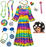 End Of The Rainbow Hippie Dress Plus Size Halloween Costume Curly Wig Kit 9x