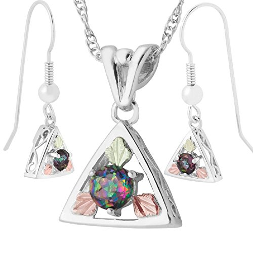 Mystic Fire Topaz Necklace and Earrings Set, Sterling Silver, 12k Green and Rose Gold Black Hills Gold Motif by Black Hills Gold Jewelry