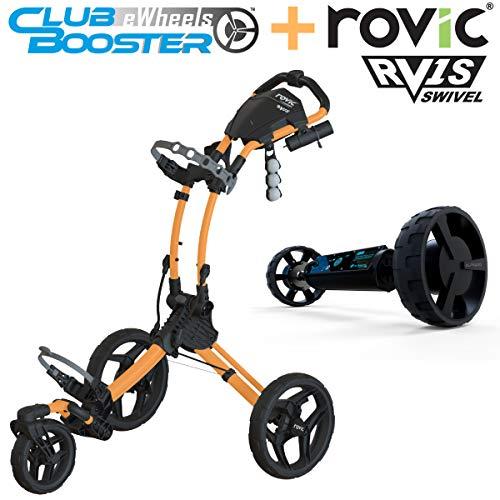 Alphard Club Booster eWheels and Rovic RV1S Swivel Golf Push Cart - Bundle & Save - Remote Control Electric Follow Caddy (Peach)