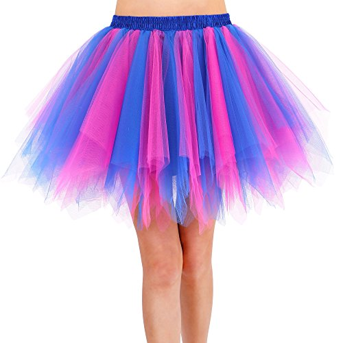 Womens Layered Contrast Tulle Petticoat Ballet Tutu Skirt