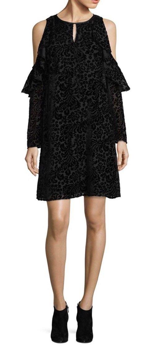 Nanette Lepore Women's Velvet Cold-Shoulder Dress Black 10