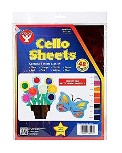 Hygloss Products Cellophane Sheets - 6 Sheets of 8 Bright, Vivid Colors - Great for Arts, Crafts, DIY Projects, Wrapping Gifts, Classroom Activities, Holidays & Much More - 8.5 by ()
