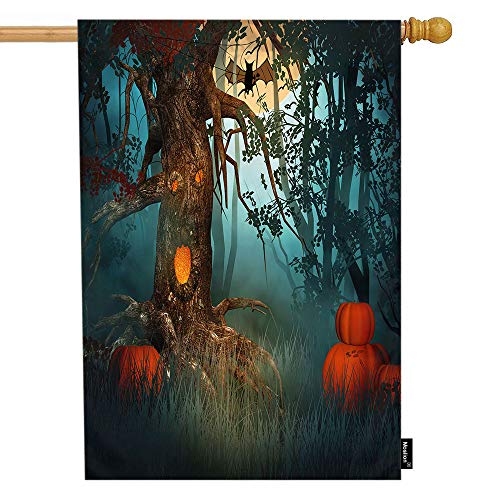 Moslion Halloween House Flag Scary Forest with Tree Pumpkin Evil Ghost Spider Lantern Garden Flags 28x40 Inch Double-Sided Banner Welcome Yard Flag Home Outdoor Decor. Lawn Villa]()