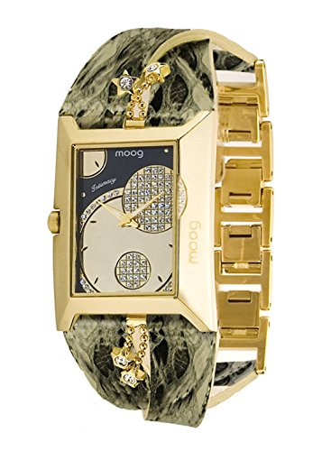 Moog Paris Intimacy Women's Watch with Champagne Dial, Green Genuine Leather Strap & Swarovski Elements - M44952-008