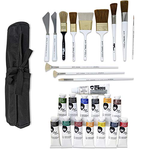 Bob Ross Landscape Oil Paint and Brushes 27-Piece Bundle, 14x Paint Colors (37ml), 12x Brushes and Painting Knives, 1x…