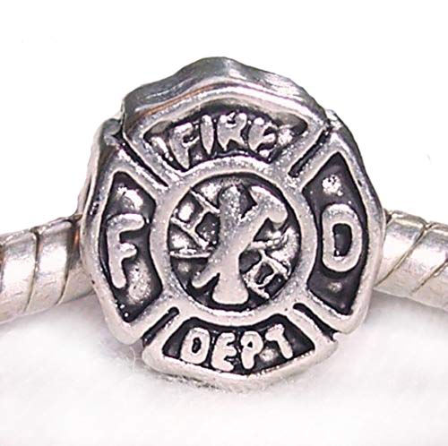 Fire Department Firefighter Badge Charm Bead for European Bracelets DIY Jewelry Making Supply ()