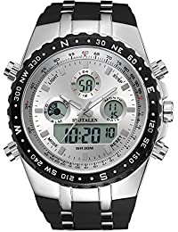Mens Sports Watch Analog Digital Backlight Large Face Multifunctional Wrist Watches Silver Dial with Black Band
