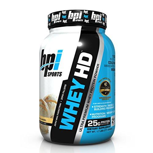 BPI Sports Whey HD Ultra Premium Protein Powder, Vanilla Caramel, 1.7 Pound