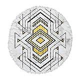 KESS InHouse Original Geo Marble Graphic Gold Tribal Round Beach Towel Blanket