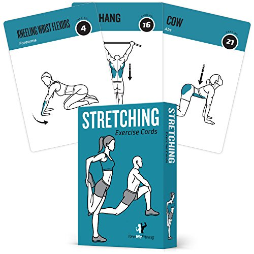NewMe Fitness Stretching Flexibility Exercise Cards – 50 Stretching Exercises – Increase Flexibility – Prevent Muscle Strains, Promote Circulation + Speed up Recovery Time – Large, Durable Cards