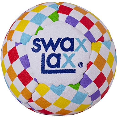 SWAX LAX Lacrosse Training Ball - Same Size and Weight as Regulation Lacrosse Ball but Soft - No Rebounds, Less Bounce Practice Ball (Rainbow)