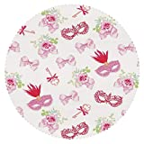 Mildew Resistant Round Tablecloth [ Masquerade,Masks and Vintage Keys Floral Bouquets Bows Pattern in Party Themed Design,Pink and Green ] Tablecloth Design