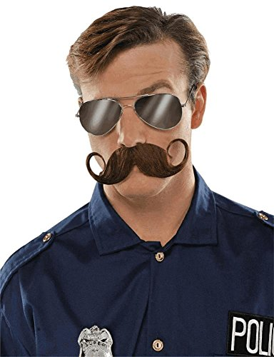 Wacky Facial Hair Brown Handlebar Moustache Costume Accessory, Self Adhesive, 1 (Halloween Facial Hair)