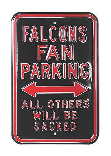 Atlanta Falcons Officially Licensed Authentic Steel 12x18 Black Parking Sign - All Others Will Be Sacked