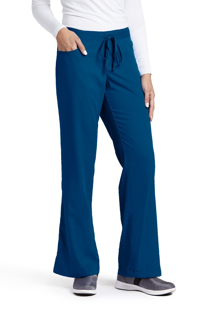 Grey's Anatomy Women's Junior-Fit Five-Pocket Drawstring Scrub Pant - X-Small Petite - Indigo