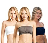 Unique Styles Seamless Bandeau Tube Top Padded Bras with Removable Pads Stretch Active 3 Pack (One Size, Charcoal, White, Navy)