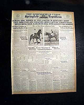 BURGOO KING American Thoroughbred Racehorse Wins KENTUCKY DERBY 1932 Newspaper THE SPRINGFIELD UNION, Mass, sport's section only, May 8, 1932