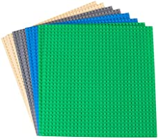 """Strictly Briks Premium Green, Blue, Gray, Sand Colored 10"""" X 10"""" Construction Base Plate 8 Pack - Compatible With All Major Brands"""