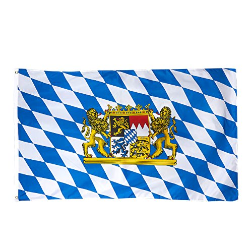 Juvale Oktoberfest Bavarian Flag - German Bavarian Patriotic Bunting Banner, Bavarian Flag Banner Outdoor, Indoor Decoration, Flag Bunting, Blue & White, 59.7 x 35 inches