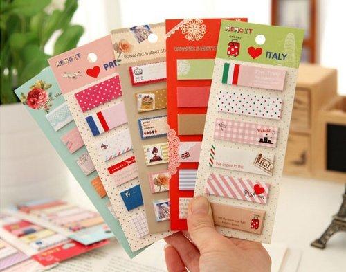ONOR-Tech 3 x Lovely Bookmark Marker Memo Banderas ndice de texto Bloc de notas Tab Notas Adhesivas