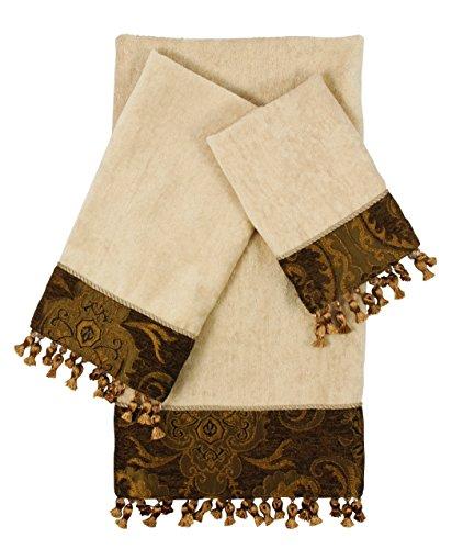 Sherry Kline 3 Piece China Art Decorative Towel Set, Brown (Embellished Towel Sets)