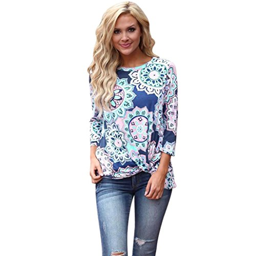 GOODCULLER Women Casual Long Sleeve Retro Floral Print Knot Blouses Tops Shirts (M, Blue)