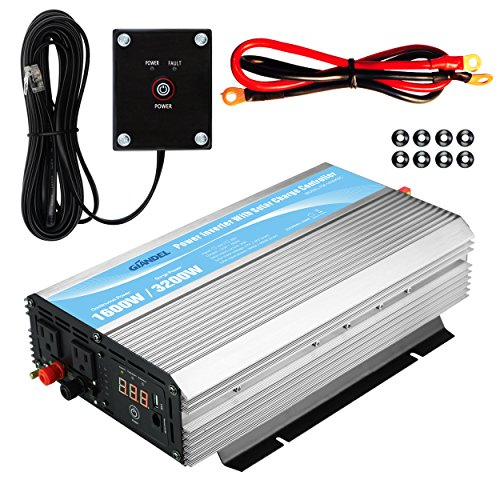 Inverter 12V DC to 110V 120V AC with 20A Solar Charge Controller and Remote Control and Dual AC Outlets & 2.4A USB Port For RV Truck Solar System (12vdc Integrated Solar Power Systems)