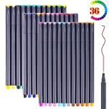 #10: Bullet Journaling Pens Set, Taotree Fineliner Colored Sketch Writing Drawing Pens , Porous Fine Point Pens Markers for Planner Note Taking Calendar Coloring Art Projects (30 Vivd Color +6 Neon Color)