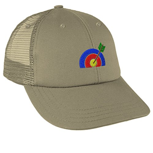 Speedy Pros Sport Archery Bull Eye Target Embroidery Low Crown Mesh Golf Snapback Hat Cap - (Bullseye Khaki)